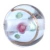 Glass Lamp Bead 12mm Round Light Blue/Rose